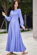 Load image into Gallery viewer, long sleeve swing prom dress in purple 2188#