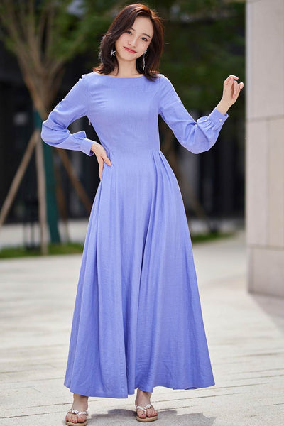 long sleeve swing prom dress in purple 2188#