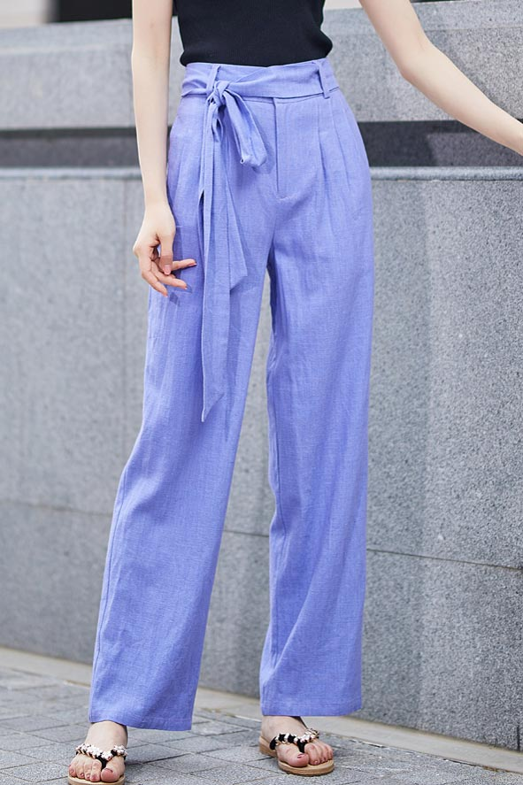 Blue palazzo pant with self belt 2189#