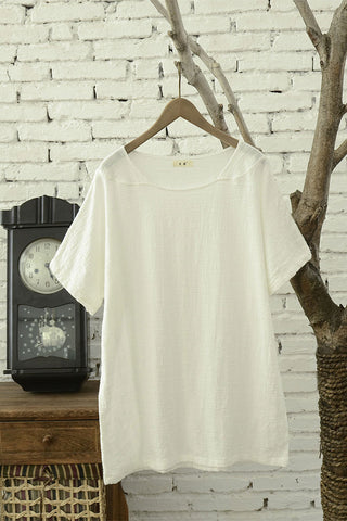 Loose fitting top for summer with short sleeve J00909