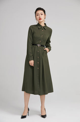 army green fall shirt midi dress with button and pockets  2228