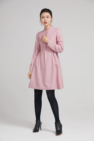 pink short wool winter dress with long sleeves and pockets 2240