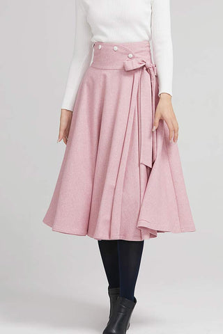 pink wool pleated skirt with wide waist band and button 2242#