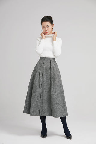 elegant pleated skirt with high waist and wide waist band 2243