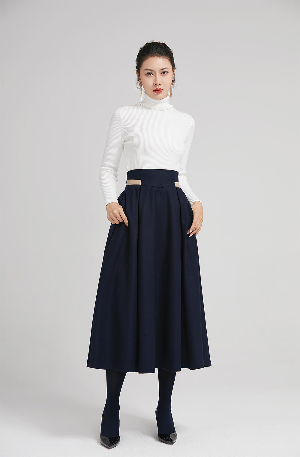 blue wool winter pleated skirt for women with  wide waist band 2245