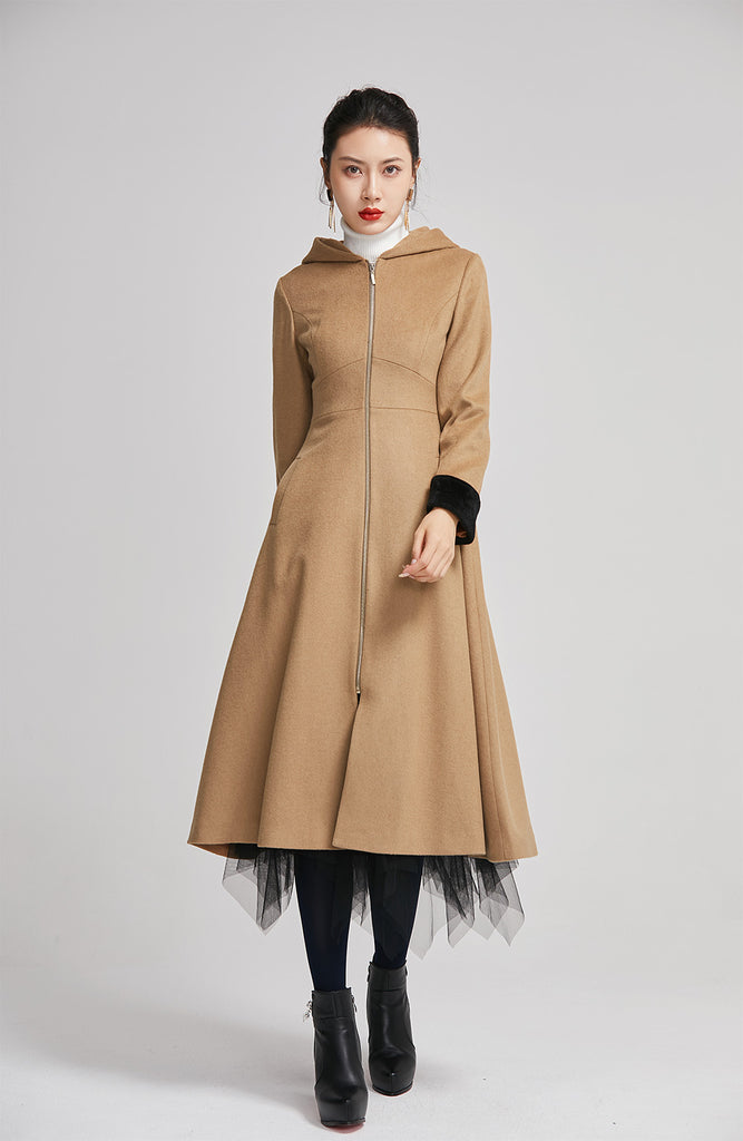 brown women long wool winter coat with single breasted 2255
