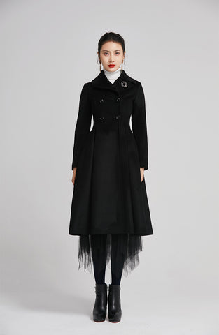 winter black women coat with double breasted and pockets 2258