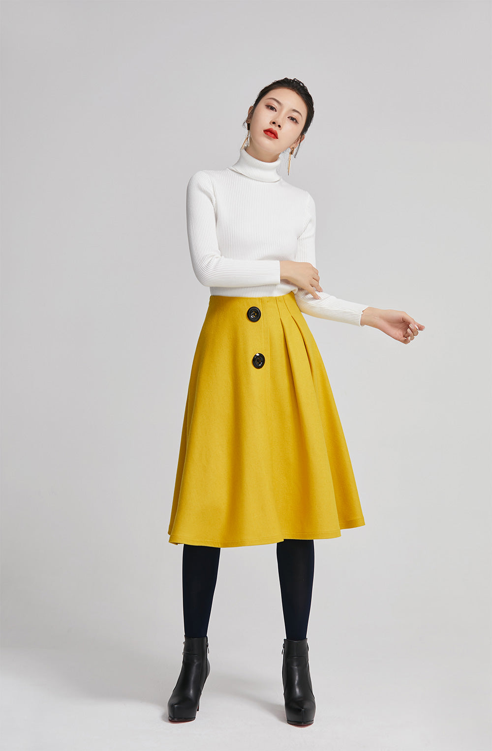 Yellow knee length pleated coat for women with high waist 2260