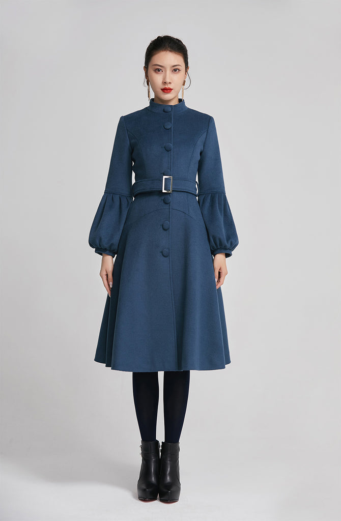 Blue women single breasted winter warm coat with pockets 2261