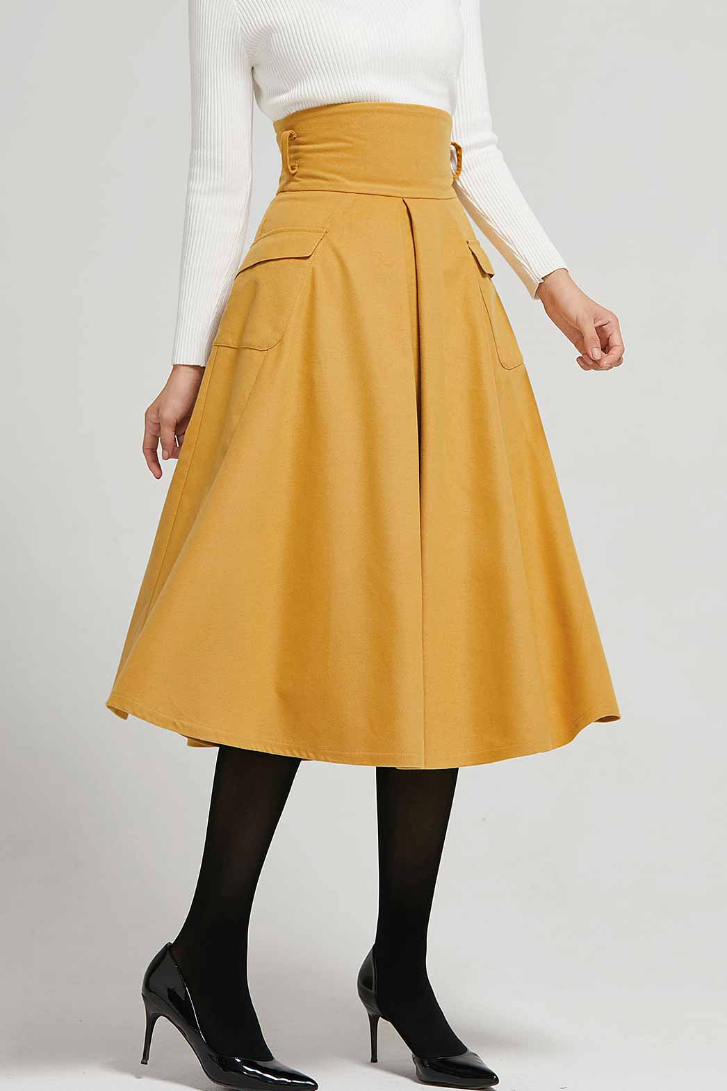 High waist A line skirt for winter 2302#