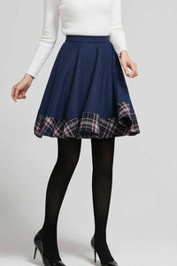 Blue patch work wool skater skrit, flare mini skirt 2304#
