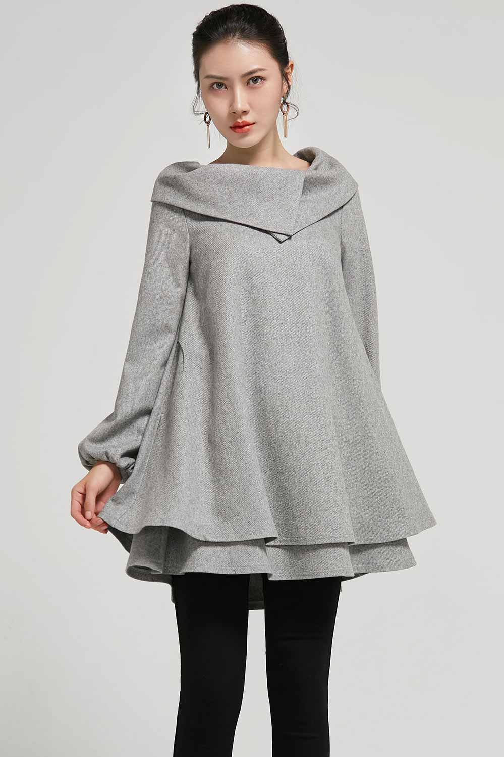 wome's  wool tuic dress in grey 2310#