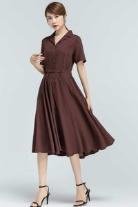 50s inspired swing shirt dress 2318#