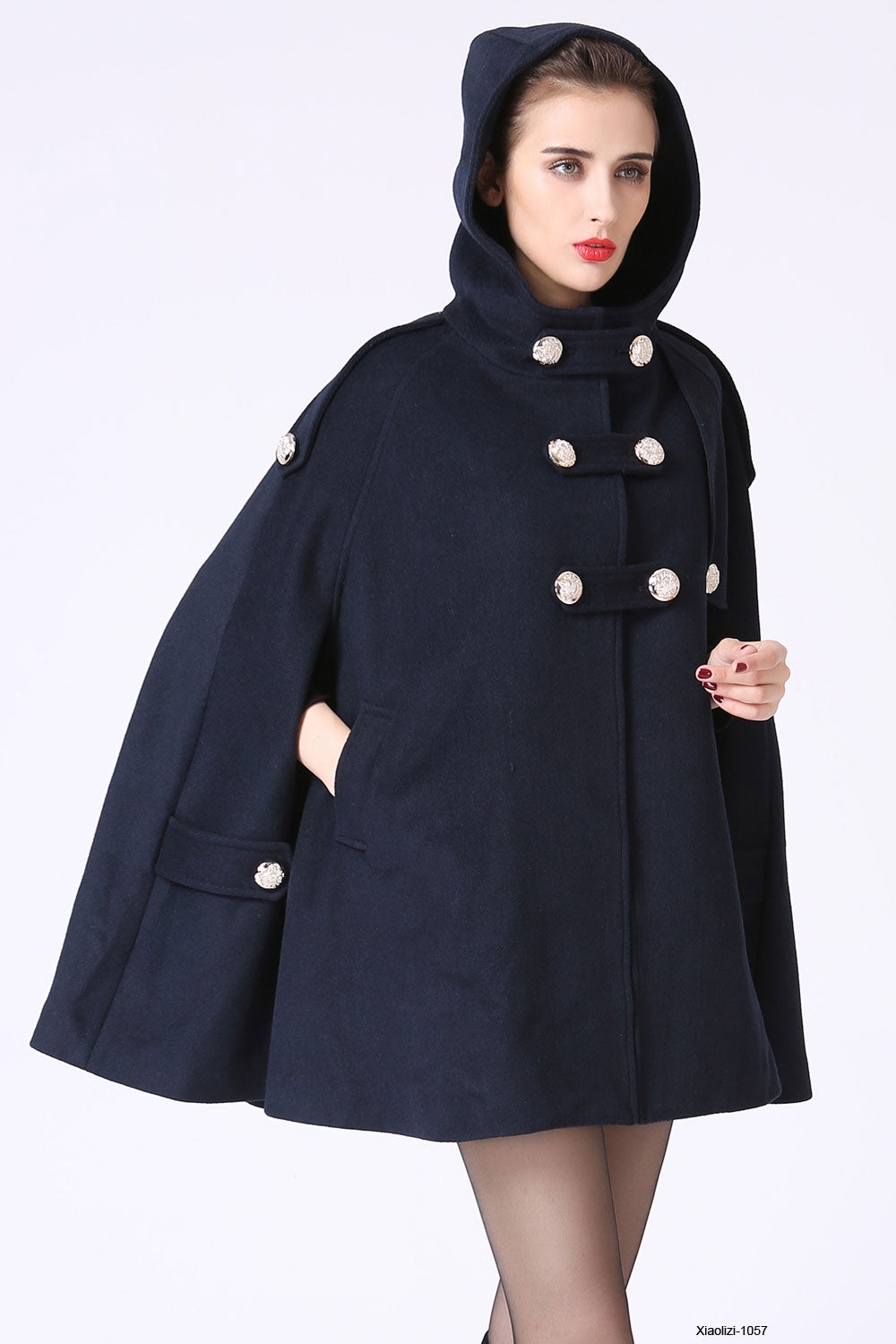 Double breasted wool cape coat with hood 1057#