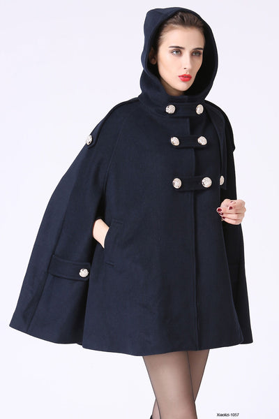 Blue hooded cape