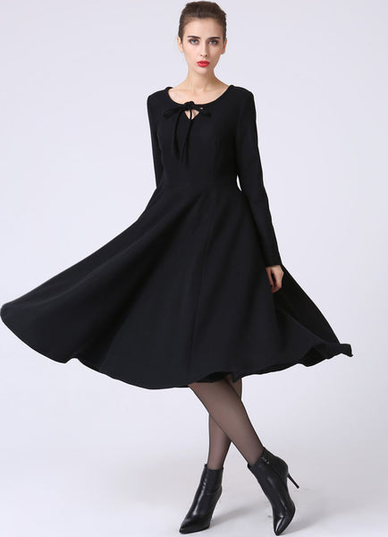 Black Winter Party Dress or Day Dress - Wool Christmas Fit-and-Flare Swing Dress with Round Neckline & Long Sleeves 1055#