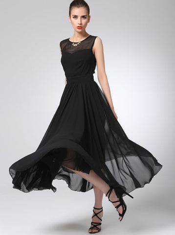 Black prom dress maxi chiffon dress long women dress (1238)