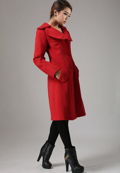 Red jacket winter cashmere coat long sleeve coat 726