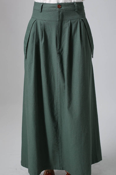 Casual Linen skirt women maxi skirt Custom made long pleated skirt in Green (813)