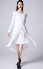 Load image into Gallery viewer, White linne dress mini dress prom dress women summer dress (1171)