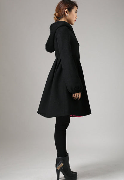 Black wool coat hooded coat winter jacket cashmere coat 730#