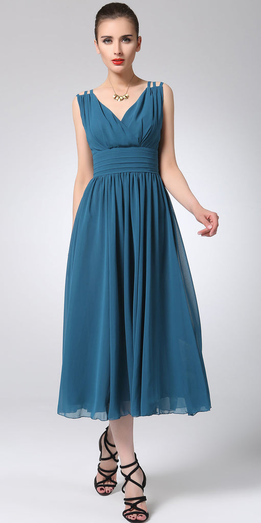 Blue chiffon dress maxi dress women long dress prom dress 1213#