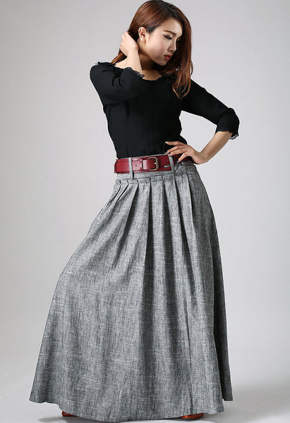 Xiaolizi high waisted linen pleated skirt  0911#