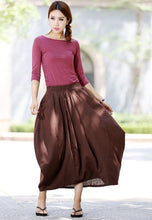 Load image into Gallery viewer, womens linen skirts brown bud skirt long skirt maxi skirt casual skirt (1026)