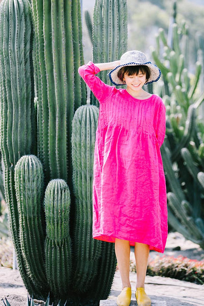 Retro linen dress with round neck and short sleeves CYM464