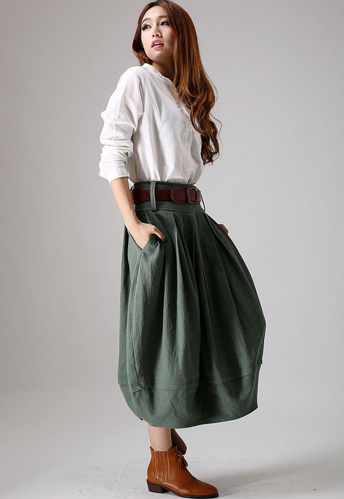 Long linen skirt green skirt women Bud skirt pleated skirt (870)