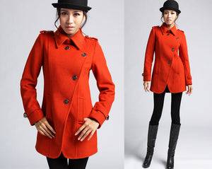 Orange Wool Coat Winter Jacket (403)