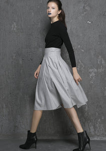light grey skirt, wool skirt, short skirt, high waisted skirt 1340