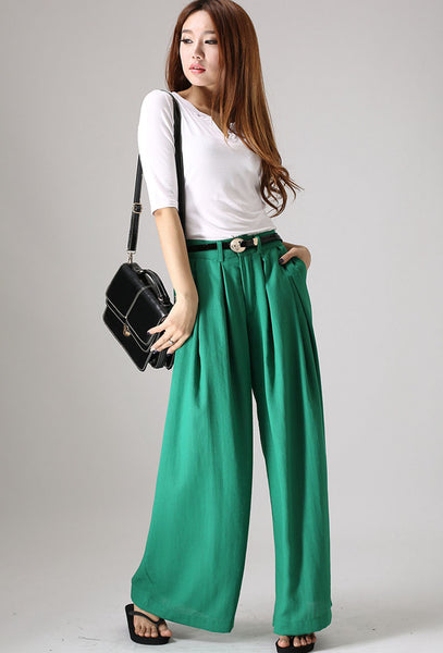 Wide Leg pants woman linen trousers in green (840)