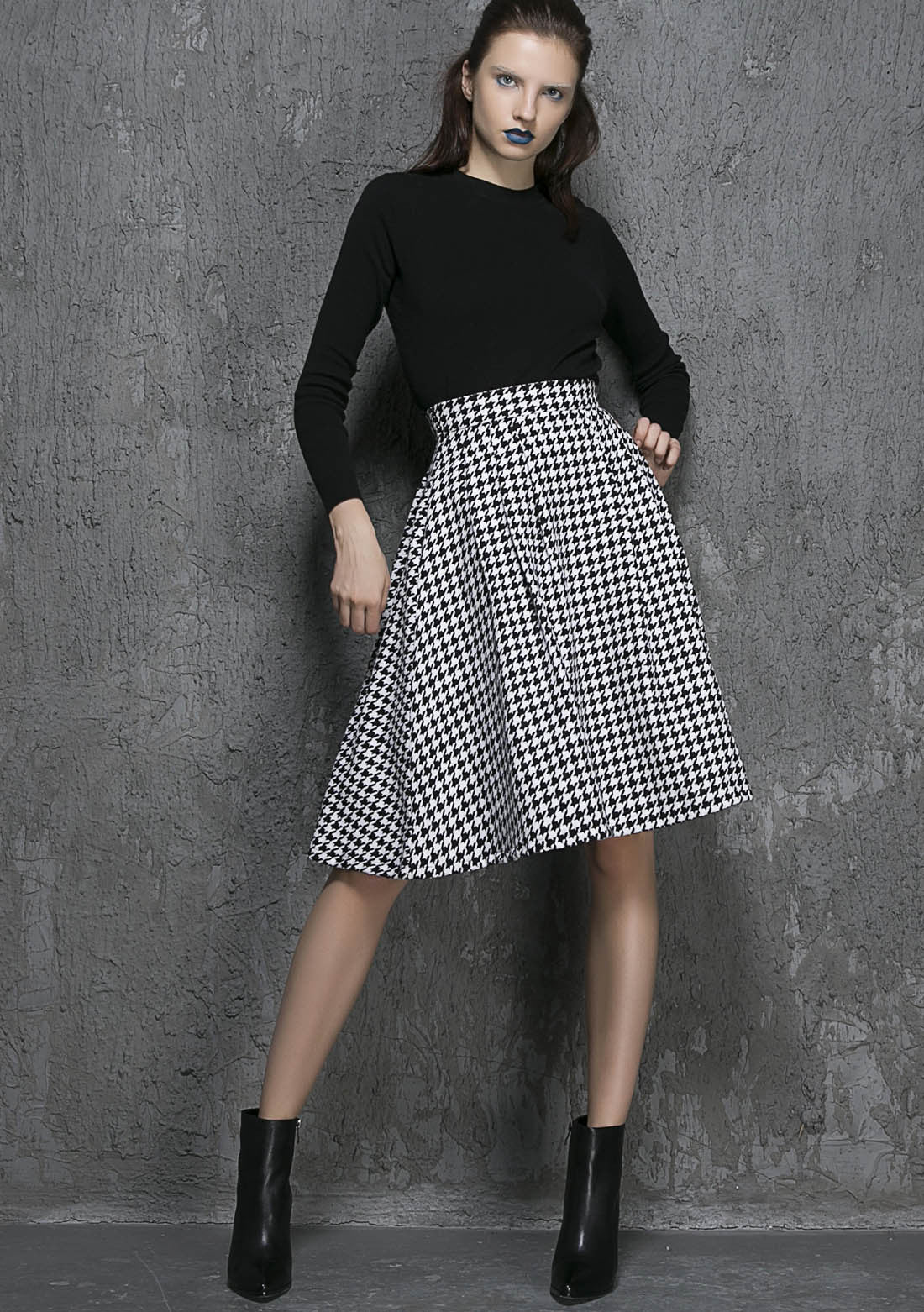 Wool Midi Skirts ,plaid Skirt, Knee length skirt 1342
