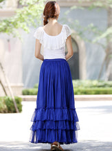 Load image into Gallery viewer, Blue long skirt women skirts maxi chiffon skirt tiered skirt 1018#