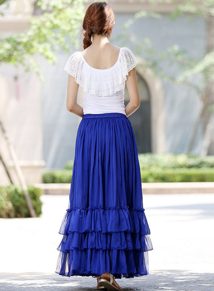 Blue long skirt women skirts maxi chiffon skirt tiered skirt (1018)