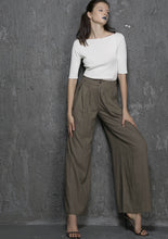 Load image into Gallery viewer, Linen trousers Maxi Palazzo pants 1337#