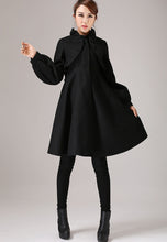 Load image into Gallery viewer, Warm winter black wool coat with ruffle detail 0775#