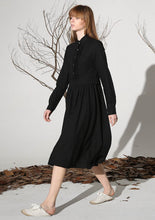 Load image into Gallery viewer, Black linen dress tea length dress women dress 1163#
