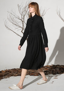 Black linen dress tea length dress women dress 1163#