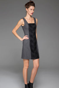 Gray Wool Vest Winter Underwear Dress Warm Vest Dress With Black Lace Stitching (1446)