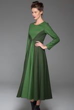 Load image into Gallery viewer, Green Wool Dress Winter Maxi Dress Dark Green Stitching Dress Long Sleeves Dress(1443)