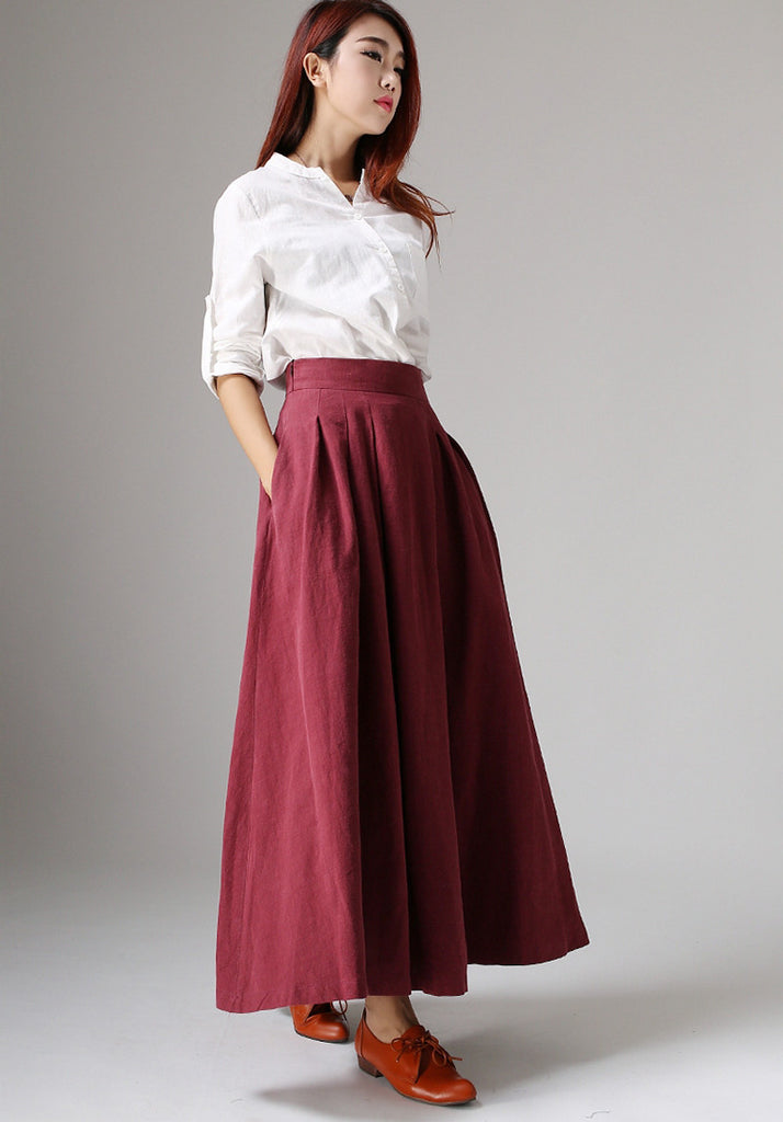 Linen skirt women maxi skirt long skirt (1048)