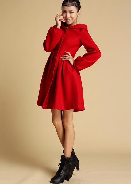 Short Red Wool Coat - Winter Cashmere Fitted Jacket Buttoned Hooded Bright Color Coat (333)
