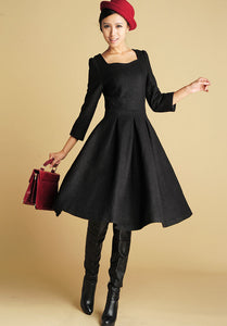 Wool Tailored Black Dress - Midi Length Structured Dress with Sweetheart Neckline (393)