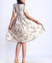 Load image into Gallery viewer, 50S Floral Print Prairie Midi Dress 0139#