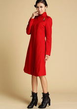 Load image into Gallery viewer, Red Wool Coat Winter Jacker 0343#