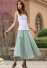 Load image into Gallery viewer, Green floral skirt woman summer skirt custom made print skirt long linen skirt 0948#