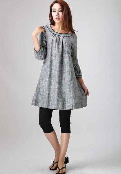 gray dress woman Mini dress linen dress (783)