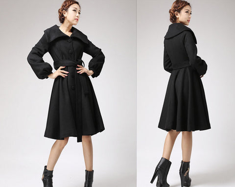 Black coat wool coat with shawl collar winter jacket coat 710#